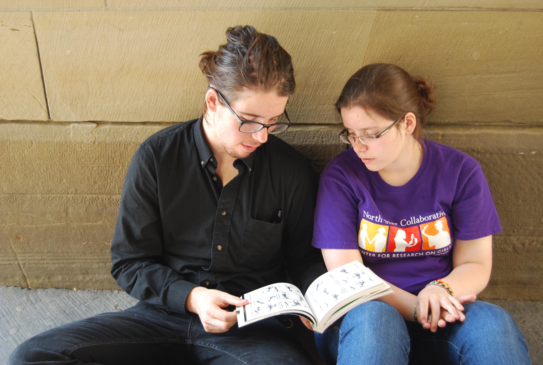 Enjoying Jason comics with my sister, Maria